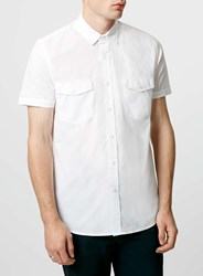 Topman White Double Pocket Poplin Short Sleeve Casual Shirt