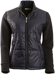 Green Lamb Jolie Embossed Padded Front Jacket Black