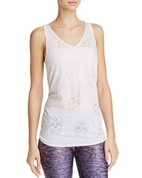 Terez Tie Back Burnout Skull Tank Top White