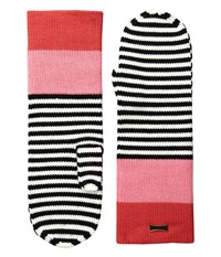 Kate Spade Color Block Stripe Mitten Persimmon Grove Extreme Cold Weather Gloves Red