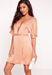 Missguided Silky Kimono Wrap Dress Nude Peach
