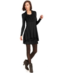 Kensie Long Sleeve Cowl Neck T Shirt Dress Black