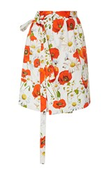 Alexis Mabille Poppy Printed Wrap Skirt White