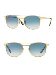 Ray Ban Striped Square Sunglasses Gold
