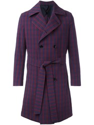 Massimo Piombo Mp Belted Trench Coat Blue