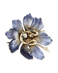 Alexis Bittar Lucite Flower And Crystal Snake Pin Blue