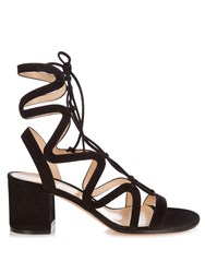 Gianvito Rossi Lace Up Suede Sandals Black