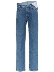 Y Project Fold Over Waist Jeans Blue