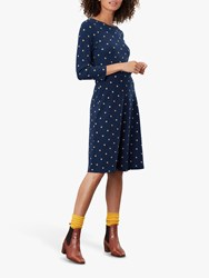 Joules Shay Waisted Polka Dot Jersey Dress French Navy Corn