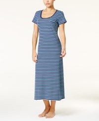 Charter Club Scoop Neck Knit Nightgown Only At Macy's Blue Stripe