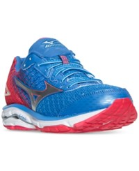 Mizuno Women's Wave Rider 19 Running Sneakers From Finish Line Palace Blue Silver Diva P