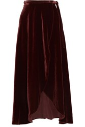 Reformation Velvet Wrap Skirt Burgundy