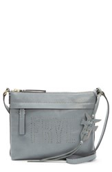 Frye Carson Perforated Logo Leather Crossbody Bag Grey Steel Grey