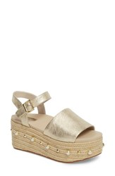Kenneth Cole New York Indra Espadrille Platform Sandal Soft Gold Metallic Leather