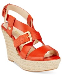 Nine West Jentri Strappy Espadrille Platform Wedge Sandals Women's Shoes Mandarin Red