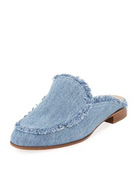 Gianvito Rossi Frayed Denim Loafer Mule Flat Blue