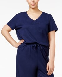 Nautica Plus Size V Neck Pajama T Shirt Navy