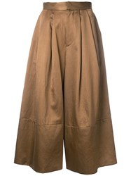 Cityshop Wide Leg Cropped Trousers Brown