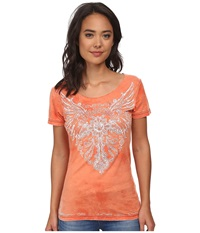 Affliction Orleans Short Sleeve Scoop Neck Tee Bright Orange Tea Stain Burnout Women's T Shirt