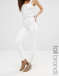 Missguided Tall Highwaisted Lace Up Skinny Jean White