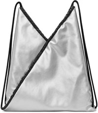Maison Martin Margiela Mm6 Silver Faux Leather Backpack