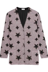 Saint Laurent Metallic Intarsia Mohair Blend Cardigan Lilac