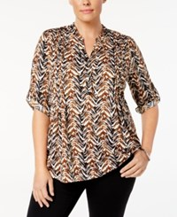 Ny Collection Plus Size Printed Pintucked Top Brighton Chevron