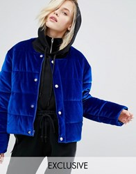 Puffa Oversized Collarless Padded Jacket In Velvet Blue