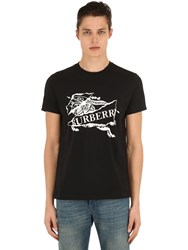 Burberry Embroidered Cotton Jersey T Shirt Black