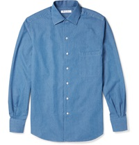 Loro Piana Andre Cotton Chambray Shirt Blue