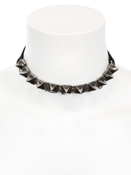 Emanuele Bicocchi Nappa Leather And Silver Spiked Collar Black Silver