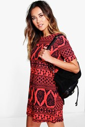 Boohoo Ethnic Print Cap Sleeve Shift Dress Red