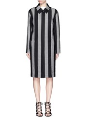 Alexander Wang Micro Houndstooth Stripe Wool Car Coat Black Multi Colour