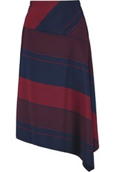 Tory Burch Asymmetric Striped Crepe Skirt Burgundy