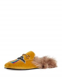Gucci Princetown Embroidered Fur Lined Mule Brown
