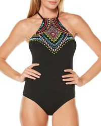Laundry By Shelli Segal Halter Print One Piece Swimsuit Black