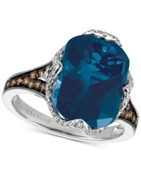 Le Vian Chocolatier Blue Topaz 6 9 10 Ct. T.W. And Diamond 3 8 Ct. T.W. Ring In 14K White Gold