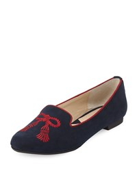 Adrienne Vittadini Doloris Embroidered Suede Flat Navy