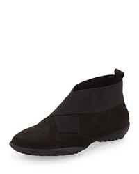 Sesto Meucci Addie Stretch Inset Nubuck Leather Bootie Black