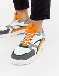 Asos Design Trainers With Colour Flashes And Chunky Sole White