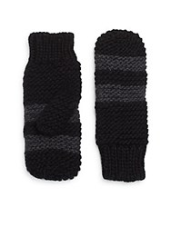 Saks Fifth Avenue Striped Mittens Black Charcoal