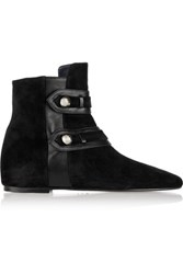 Isabel Marant Roddy Leather Trimmed Suede Ankle Boots Navy