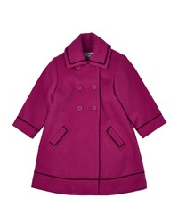 Florence Eiseman Double Breasted Wool Blend Peacoat Fuchsia Pink