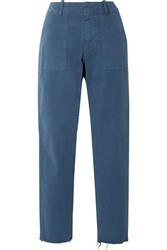 Nili Lotan Jenna Cropped Frayed Stretch Cotton Twill Straight Leg Pants Blue