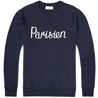 Maison Kitsune Parisien Crew Sweat Navy And White