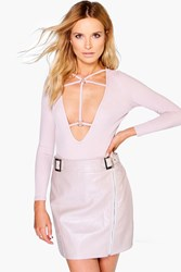 Boohoo Buckle Front Zip Detail Leather Look Mini Skirt Taupe