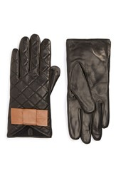 Women's Kate Spade New York Quilted Leather Gloves Black Camel