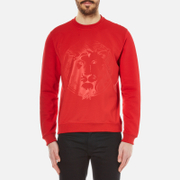 Versus By Versace Men's Embossed Lion Scuba Crew Neck Jumper Fire Red