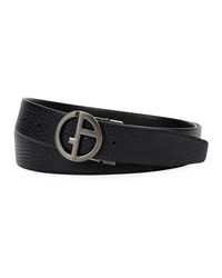 Giorgio Armani Logo Buckle Textured Vitello Leather Belt Black Blue