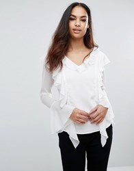 Club L Shirt With Ruffle Front White